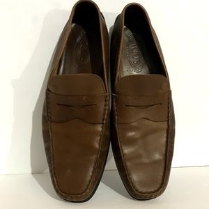 Tods Leather Loafers Moccasin Slip Ons Mens 11